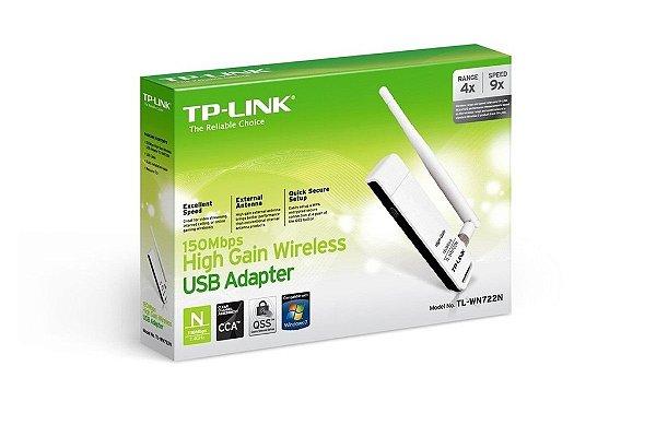 Adaptador USB Wireless N de Alto Ganho de150Mbps TL-WN722N