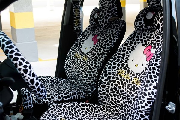 CAPA PARA BANCO DE CARRO HELLO KITTY LEOPARDO PRETO COMPLETO