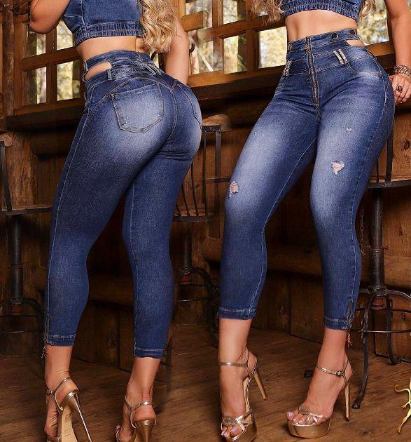 Calça Jeans Empina Bumbum Com Cós Vazado 56575