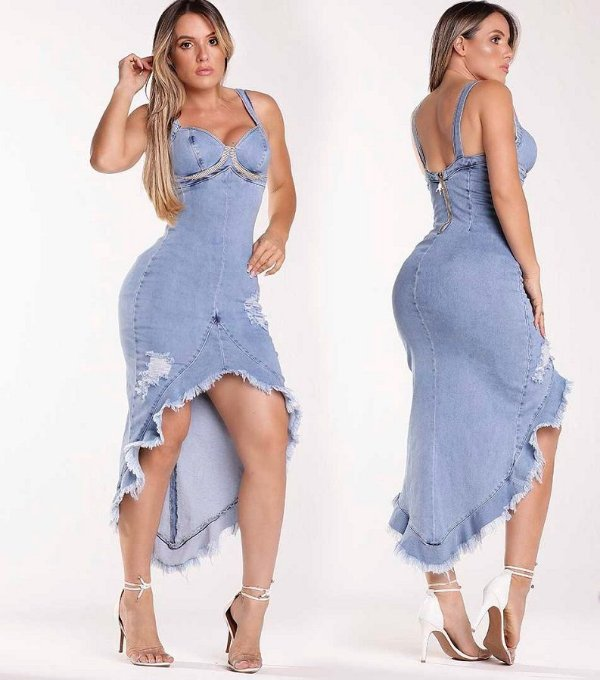 Vestido Jeans Assimétrico Modelador 56343