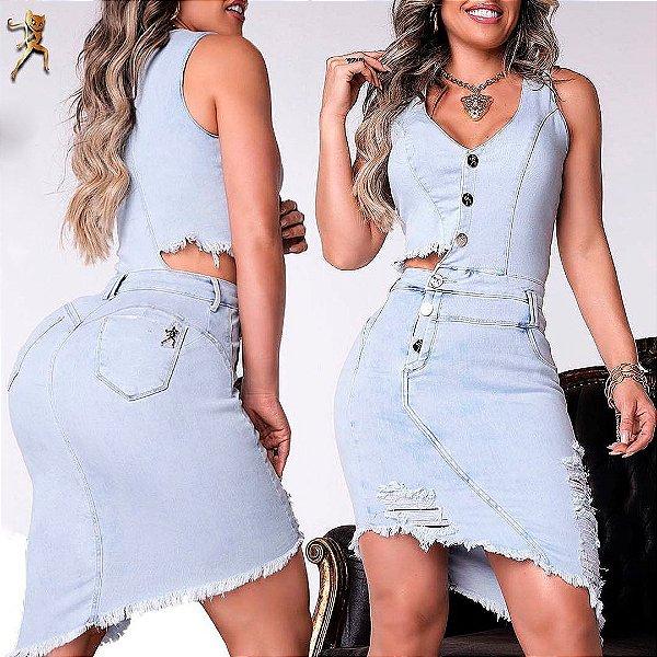 Vestido em Jeans Claro Destroyed 56330