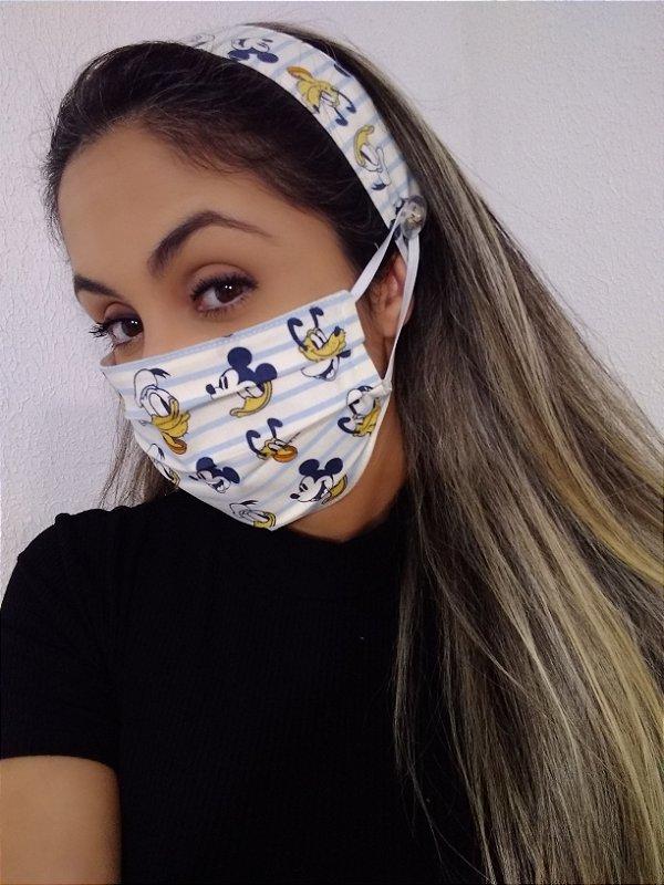 Máscara e Tiara Turma do Mickey 100% Algodão C/Elástico Regulável
