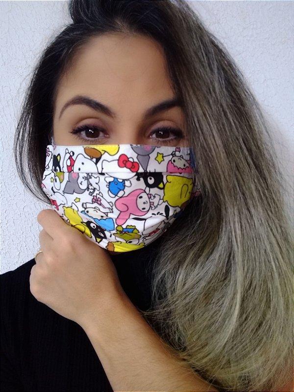 Máscara Turma da Hello Kitty 100% Algodão C/Elástico Regulável