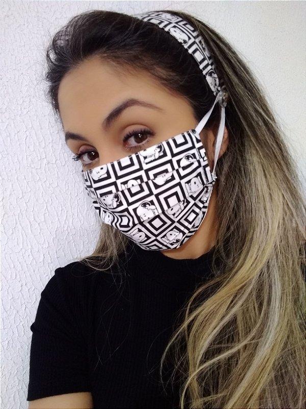 Máscara e Tiara Snoopy 100% Algodão C/Elástico Regulável