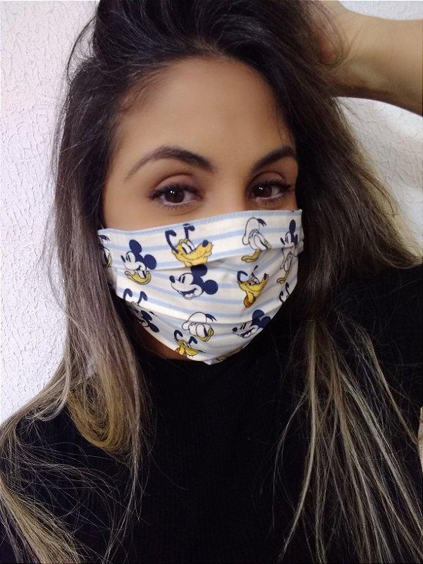 Máscara Turma do Mickey 100% Algodão C/Elástico Regulável