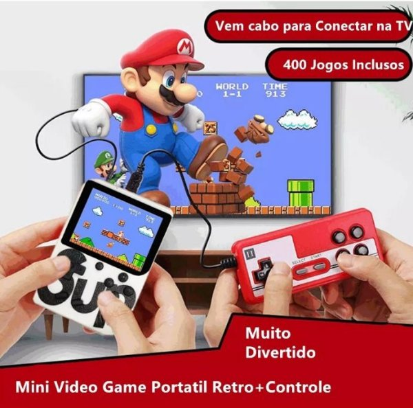 Mini Game Retro 400 Jogos 2 Controles Jogue Na Tv
