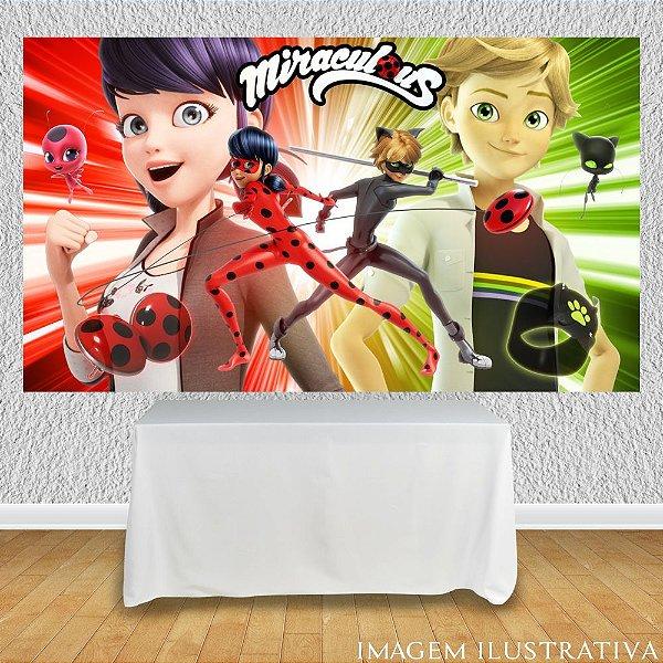 Painel de Festa Infantil Miraculous Ladybug Marinette e Adrien