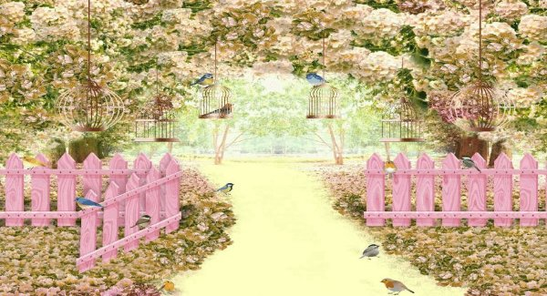 Painel de Festa em Lona Jardim 3D