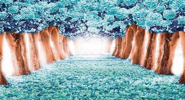 Painel em Lona 3D Floresta Azul Tiffany