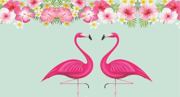Painel de Festa Tropical Flamingo Coração
