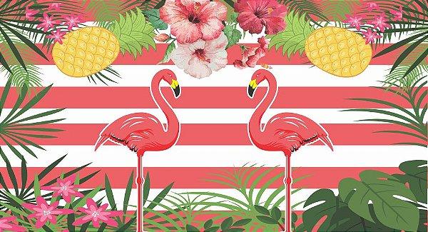 Painel para decoração de Festa Tropical Flamingo
