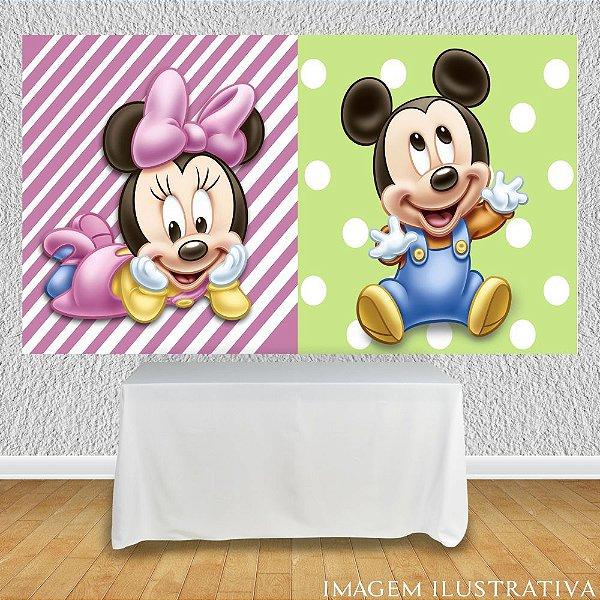 Painel de Festa Infantil Baby Disney - Minnie e Mickey