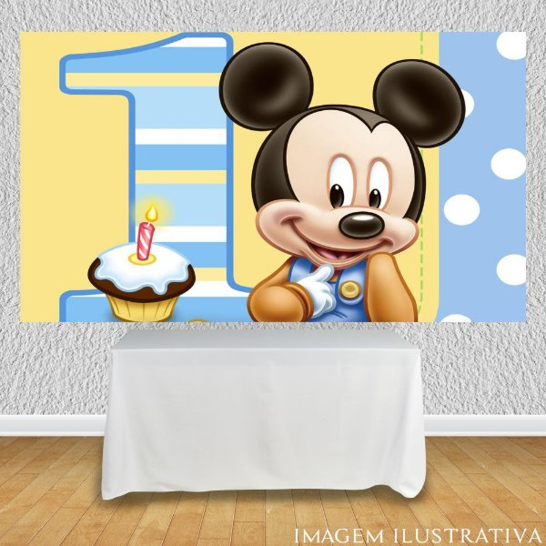 Painel de Festa Infantil Baby Disney - Mickey 1 Ano