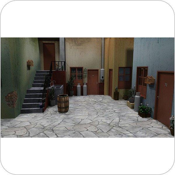 Painel de Festa Infantil Chaves - Vila em 3D