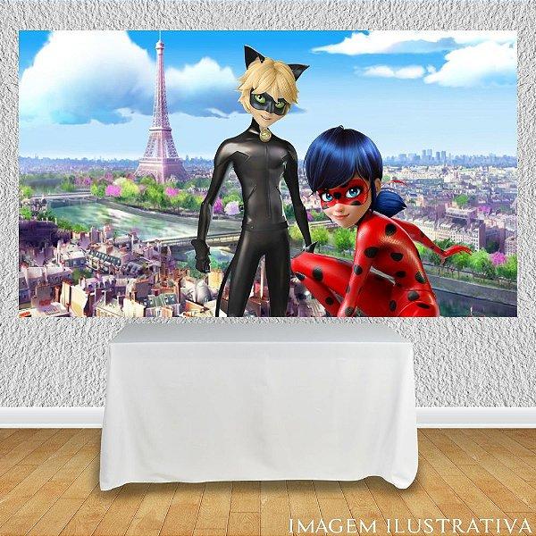 Painel de Festa Infantil Miraculous Ladybug Marinette e Cat Noir IV