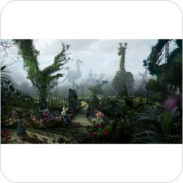 Painel de Festa Infantil Alice no País das Maravilhas - Jardim
