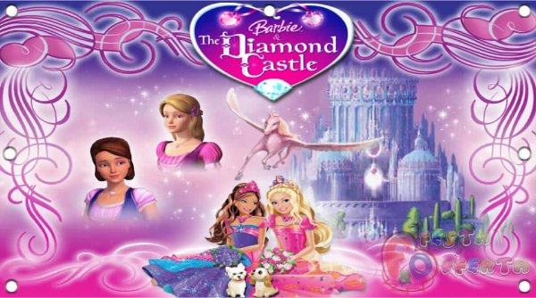 Painel para decoração de festa infantil - Barbie castelo de diamante