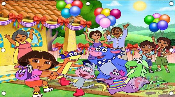 Painel para decoração de festa infantil - Dora Aventureira - Familia e Amigos