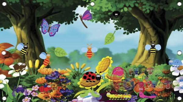 Painel para decoração de festa infantil - Jardim Encantado