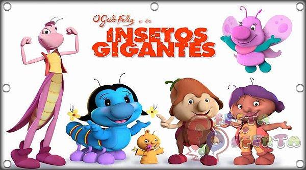 Painel para decoração de festa infantil  -  O Grilo Feliz e os Insetos Gigantes