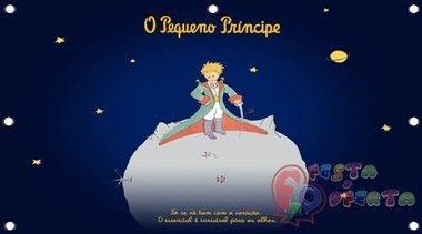 Festa do pequeno principe na lua em fundo azul