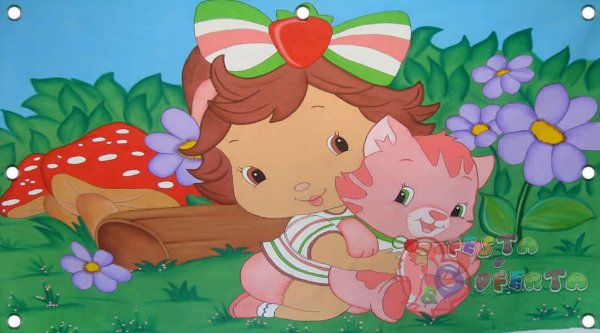 Painel para decoração de festa infantil - Moranguinho Baby