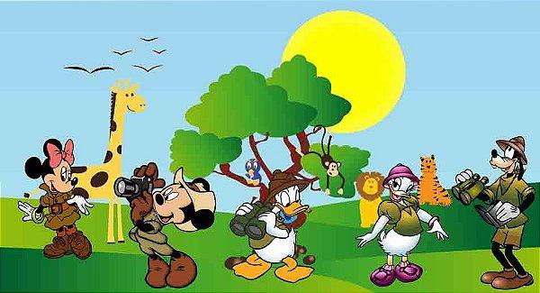Painel para decoração de festa infantil - Mickey Safari
