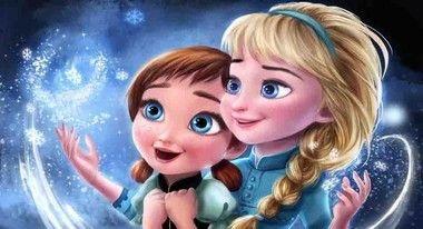 Painel de Festa Frozen Elsa e Ana baby com fundo azul