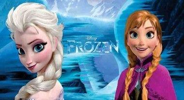 Frozen Elsa e Ana com fundo azul painel infantil