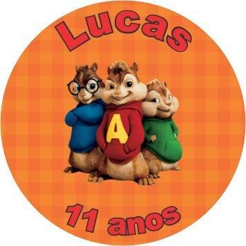 60 Rótulos adesivos lembrancinha Alvin e os esquilos