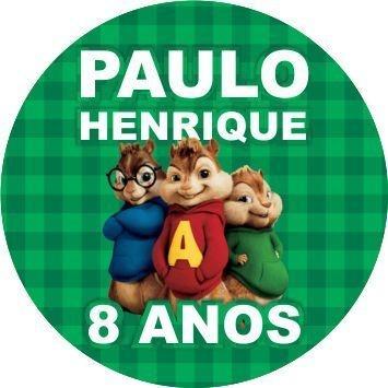 60 Rótulos adesivos para lembrancinha | Alvin e os esquilos