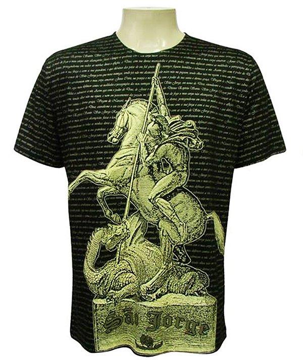Camiseta Preta São Jorge Dorê Viscose