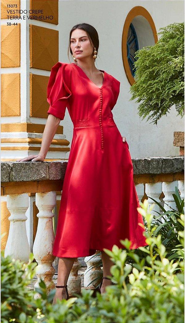 Vestido Crepe Vermelho