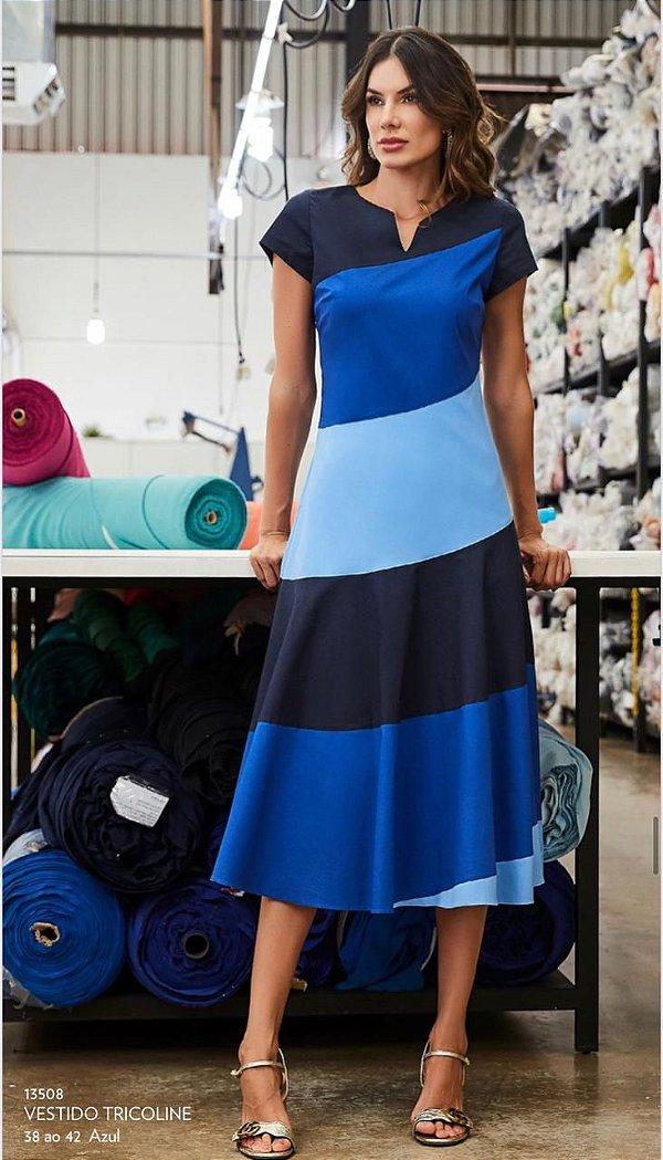Vestido Tricoline Colors Block