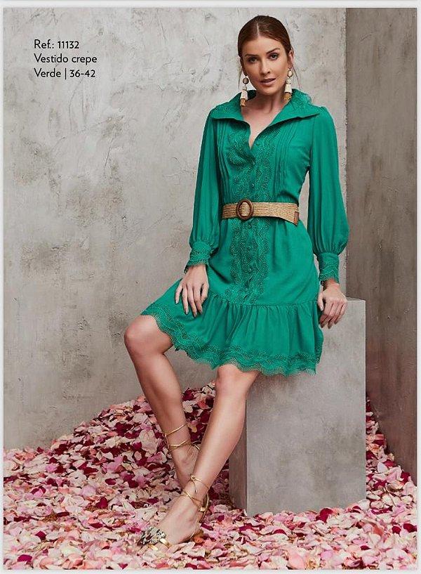 Vestido Crepe Verde Rendas