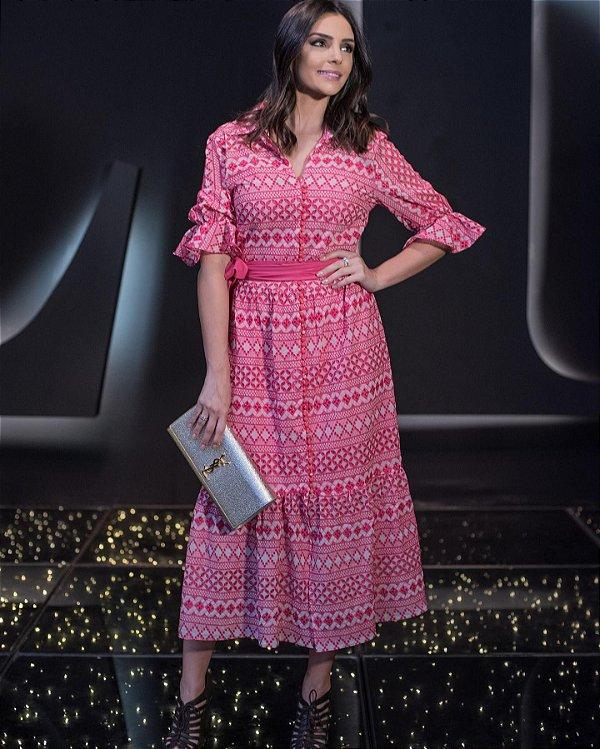 Vestido Bordado Pink Midi