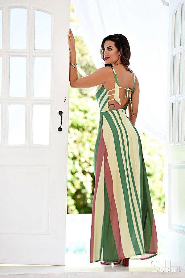 Vestido Viscose Listras