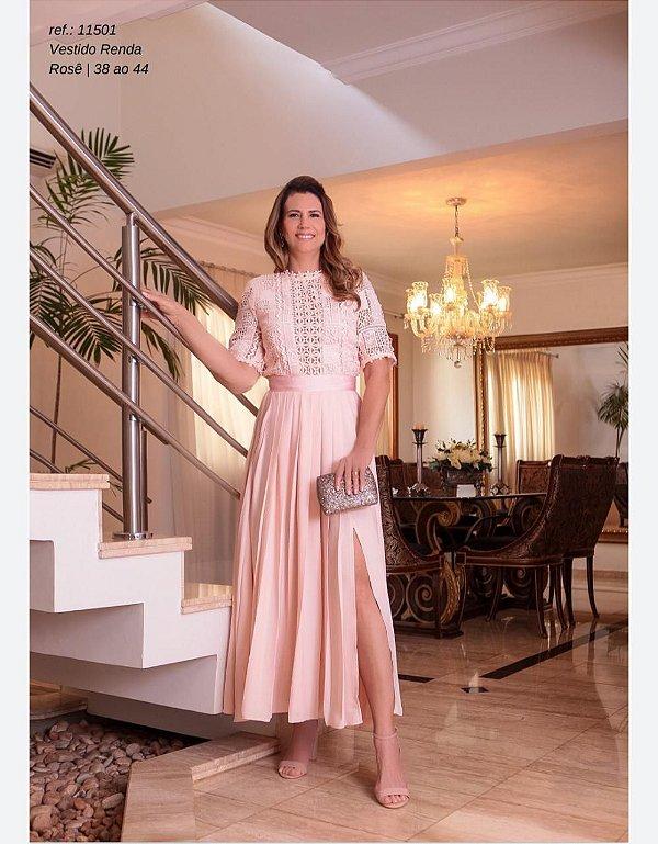 Vestido Guipure Pregas Rosa