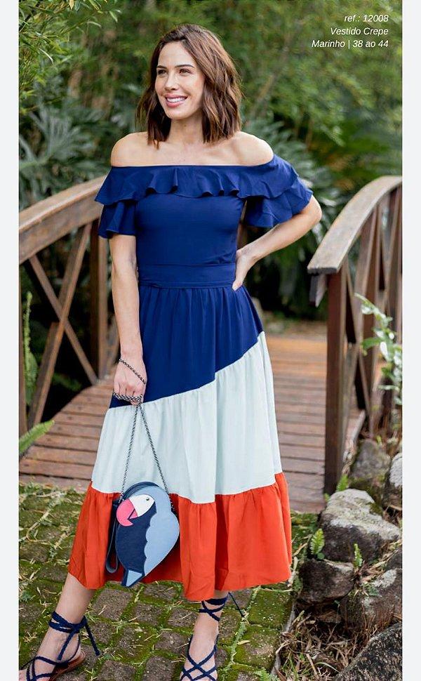 Vestido Crepe Ombro A Ombro Tricolor