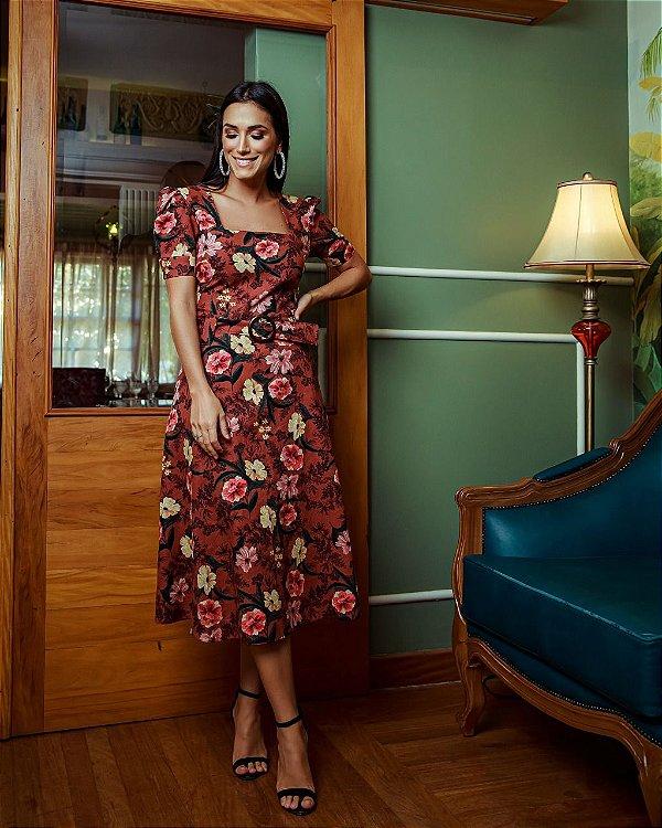 Vestido Linho Print Floral