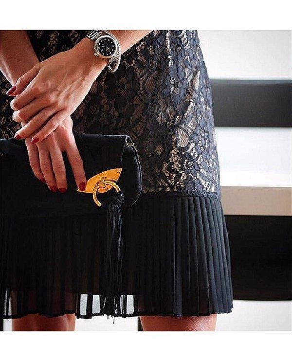 Vestido Chiffon Renda Black