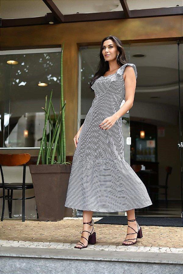 Vestido Tricoline Listrado