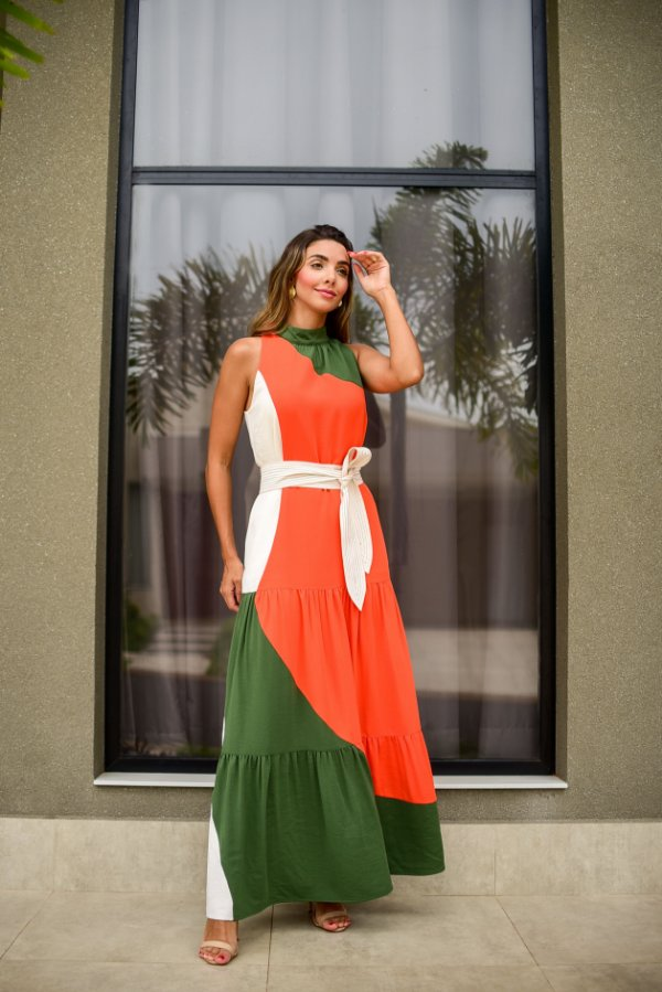 Vestido Crepe Color Block