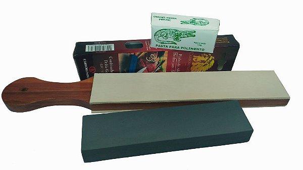 Kit Strop De Couro + Pedra Carborundum + Pasta Jacare