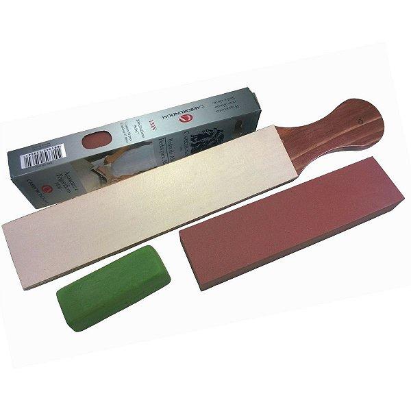 Kit Afiar Pedra Fina Carborundum 400 + Strop Couro + Pasta