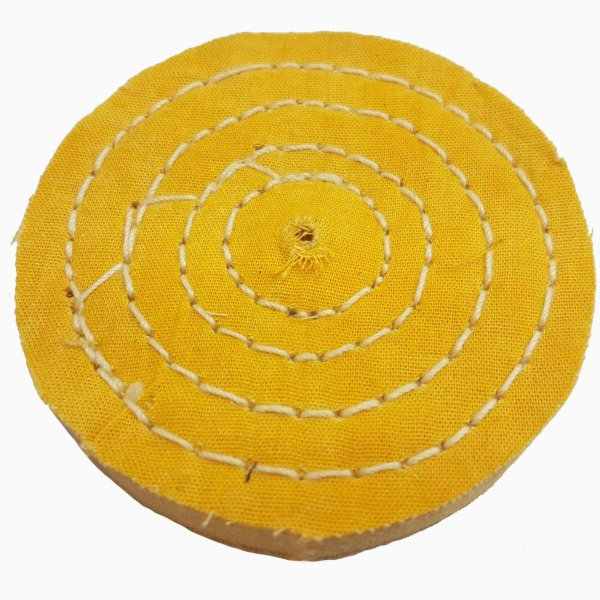 Roda De Pano Disco Para Polir E Lustrar Algodão Amarela 10 Cm