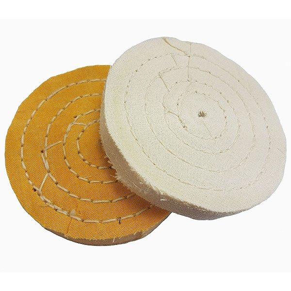 Roda De Pano Para Polir E Lustrar Algodão Branca E Amarela