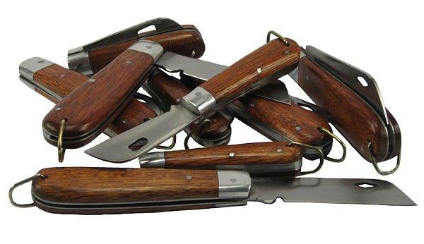 Canivete Lâmina Vazada Aço Carbono Cabo Madeira Lote 20 Peças