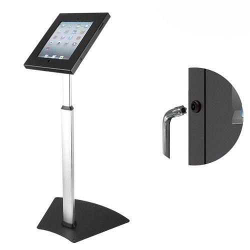 Pedestal de Chão Antifurto com Regulagem de Altura para iPad2, iPad3, iPad4 e iPad Air / Air2 com Trava por Chave - PAD12-05A