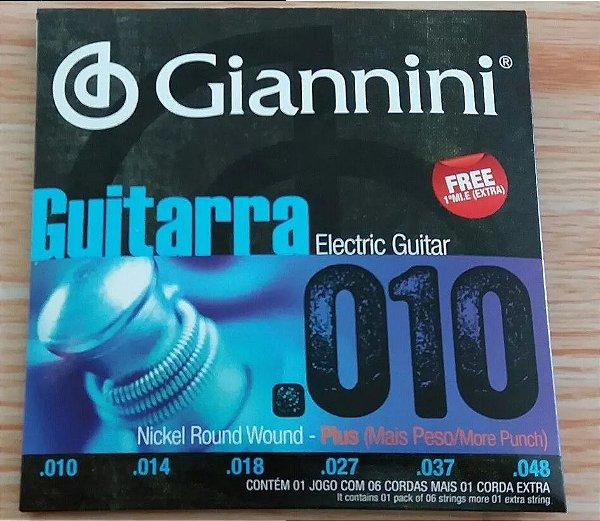 Encordoamento Para Guitarra Giannini Plus 010 (+1 Mi Extra)